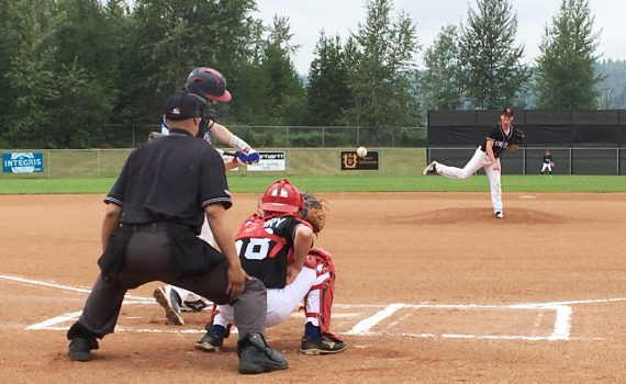 Prince George Knights pitcher Noah Lank delivers a strike against a Vancouver Expos batter during the opening game of the 2019 BC Minor Baseball 15U AA provincial championship in Prince George Thursday. The championships are on until August 5 and all games are being played at the Nechako Park fields. Bill Phillips photo
