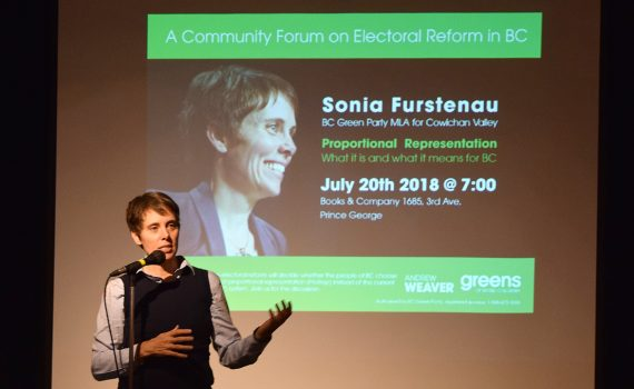 About 35 people showed up at Books and Co. Friday night to listen to Cowichan Valley MLA Sonia Furstenau, one of three Green Party MLAs, speak on proportional representation. Bill Phillips photo