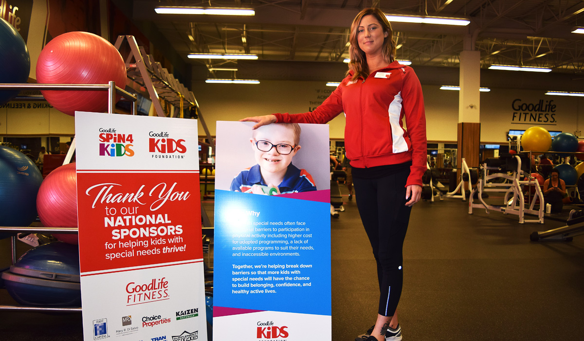 Meghan Keir, general manager at GoodLife Fitness in Prince George, is ready for Spin 4 Kids tomorrow. Take a group fitness class and help kids along the way. Bill Phillips photo