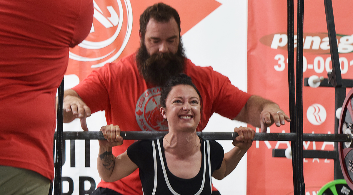 Kayla Terry squats 100 kilograms (220 pounds) during the 2018 Canadian Powerlifters Association Open at XConditioning Barbell and Northern BC Powerlifting on Second Avenue Saturday. Bill Phillips photo