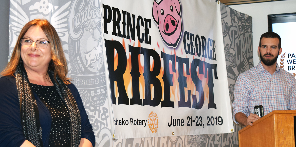Lisa Redpath, president of the Nechako Rotary Club, and Kyle Sampson, Northern B.C. manager for Pacific Western Brewing, announce Prince George Ribfest ... a three-day event full of ribs and local music June 21-23. Bill Phillips photo