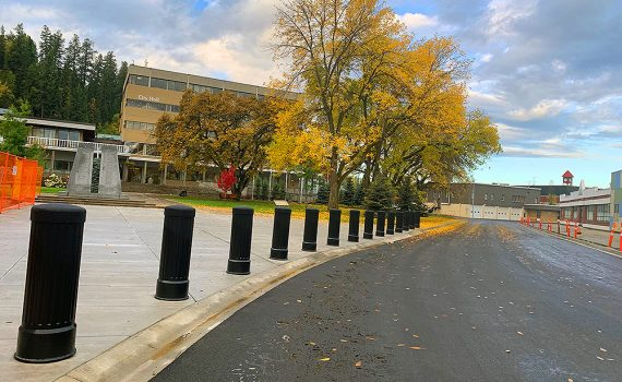 A view of a few of the above-ground improvements to 7th Avenue in front of City Hall. In addition to the recently paved road, these include the installation of a new concrete frontage and bollards at Veterans Plaza in front of the Cenotaph. City of Prince George photo