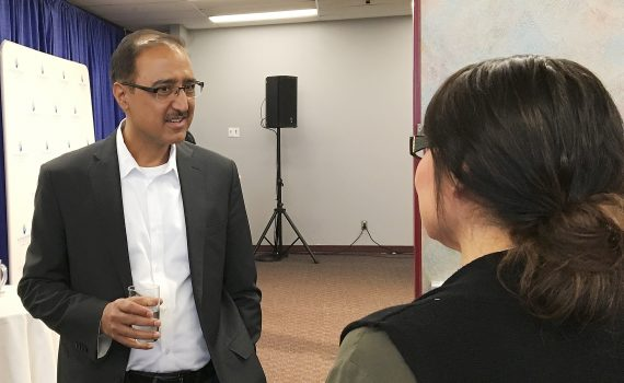 Natural Resources Minister Amarjeet Sohi chats with Haisla Chief Councillor Crystal Smith during the BC Natural Resources Forum. Bill Phillips photo