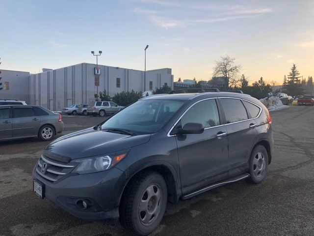 This dark grey 2012 Honda CRV was stolen from the YMCA of Northern BC parking lot earlier this afternoon. It was spotted in the College Heights area. It has a B.C. license plate number 190 WWK. If you see this vehicle, If you see this vehicle, please contact the Prince George RCMP at (250)561-3300 or anonymously contact Crime Stoppers at 1(800)222-8477 or online at www.pgcrimestoppers.bc.ca (English only).