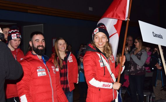 Team Canada enters the Civic Centre during the opening ceremonies for the World Para Nordic Skiing Championships in Prince George. Mayor Lyn Hall declared the Games open and competition will rage at the Otway Nordic Ski Centre for the next 10 days. Bill Phillips