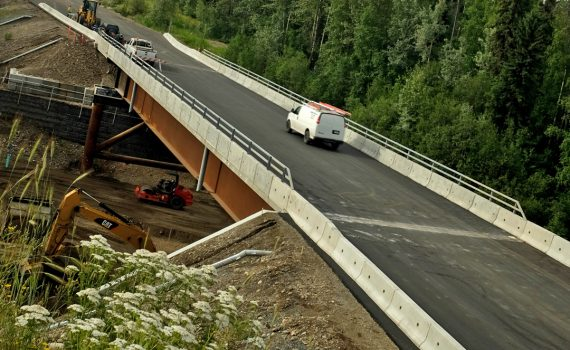 Willow Cale Road Bridge is now open following stabilizing construction efforts that started late last summer. City of Prince George photo