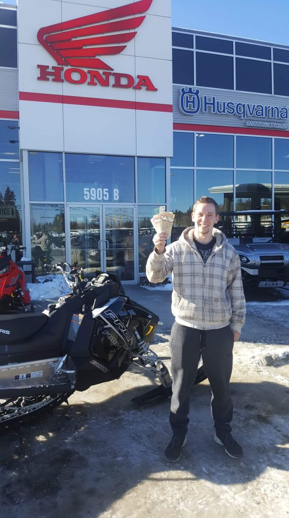 George Park took home $500 cash in the Prince George Snowmobile Club's 2018/19 raffle. Stan Nelmes, not pictures, won a $1,000 WestJet credit.