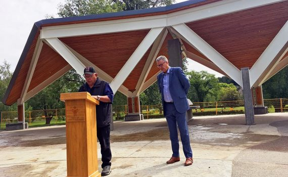Chief Dominic Frederick and Mayor Lyn Hall give update on new pavilion in Lheidli T'enneh Memorial Park. City of Prince George photo