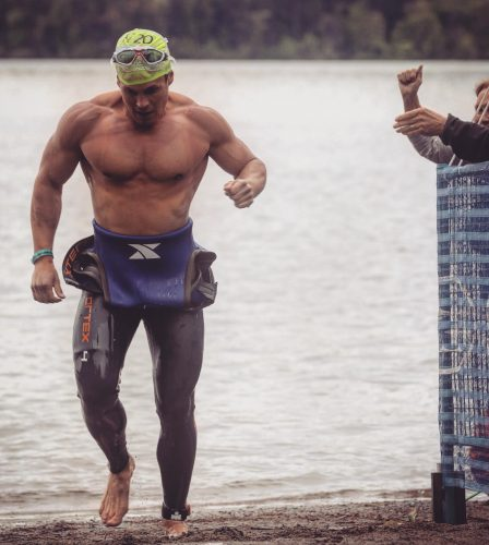 Scott McWalter comes out of the water at the Victoria Ironman competition June 3.