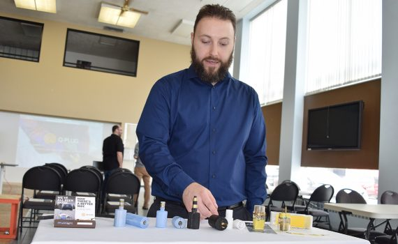 Sterling Roberts shows some of the prototypes of his Q-Plug invention. Bill Phillips photo