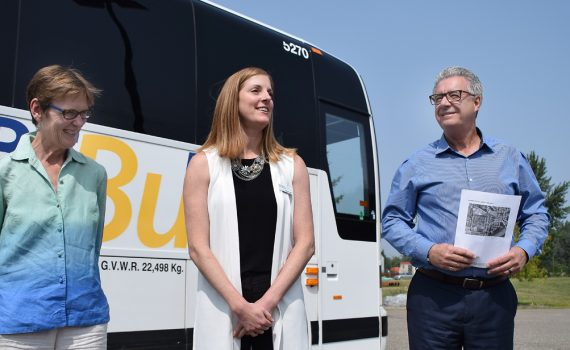 Transportation Minister Claire Trevena, BC Transit interim president and CEO Erinn Pinkerton, and Mayor Lyn Hall showcase the BC Bus North service. Bill Phillips photo