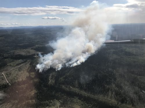 Dog Creek Trail fire near Vanderhoof. The fire is no longer classified as a 'wildfire of note.' BC Wildfire Service photo