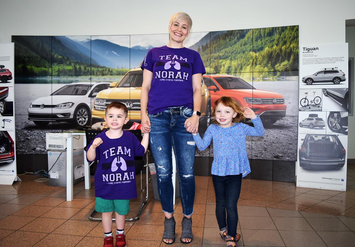 Team Norah Hotdog/Bake Sale Extravaganza organizer Sarah Schleich with her son Sawyer and friend Norah. Bill Phillips photo