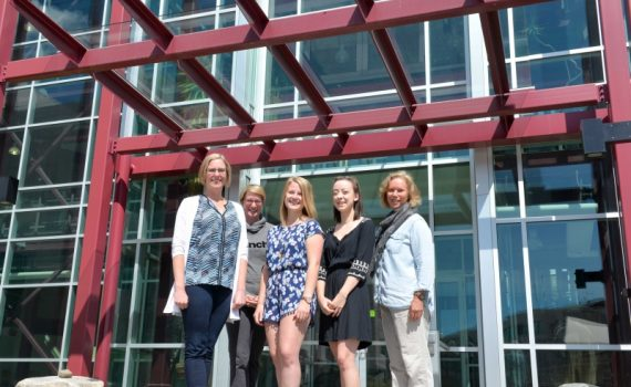 From left: Heidi Dodenberg (senior nursing lab instructor), Gwen Keeler (senior nursing lab instructor), Mikayla Fairley (UNBC Nursing 2018 graduate), Julie Dutchak (UNBC Nursing 2018 graduate), and Dr. Sylvia Barton (Chair, UNBC School of Nursing). UNBC photo