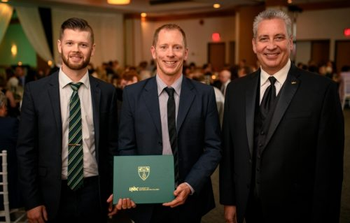 From left: UNBC Alumni Council President Andrew Seabrook, UNBC Distinguished Alumni Award winner Sam Milligan and UNBC President Dr. Daniel Weeks. UNBC photo