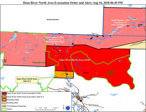 Evacuation order for properties near Dean River in the Chilcotin