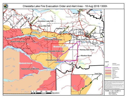 Evacuation order for east end of Cheslatta Lake
