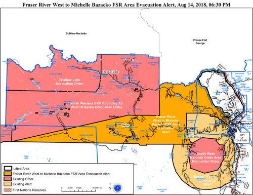 Evacuation alert area north of Quesnel reduced