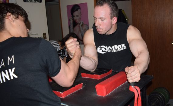 Armwrestlers Dan Gallo and Jacob Lea train six days a week. Bill Phillips photo