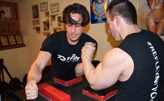 ArmwrestlerArmwrestler Jacob Lea practices with 19-time provincial champion and eight-time national champion Dan Gallo. Bill Phillips photo Jacob Lea practices with 190-time provincial champion Dan Gallo. Bill Phillips photo