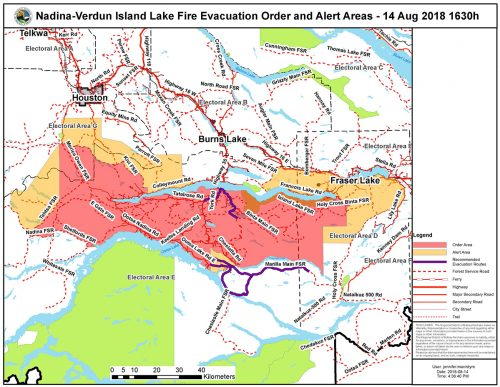 Expanded evacuation order south of Francois Lake