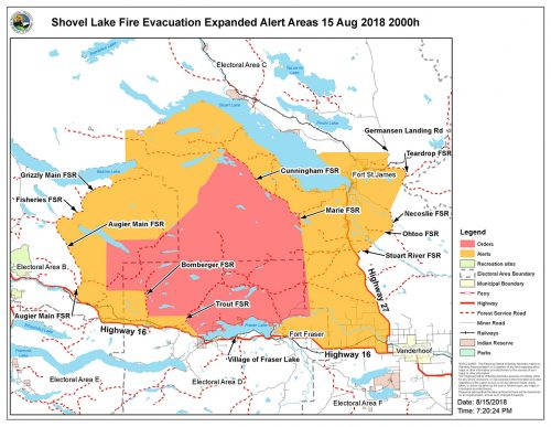 Evacuation alert area expanded around Shovel Lake fire