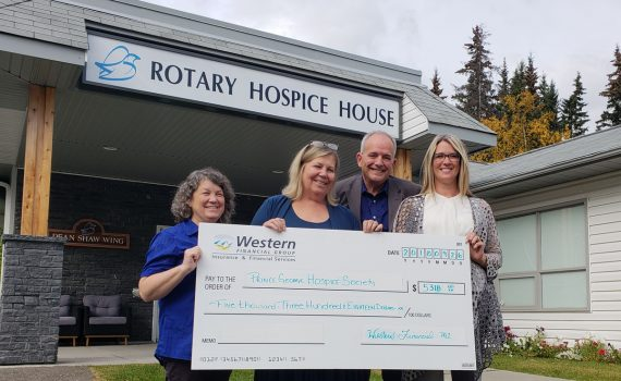 Western Financial raised $5,310 at its annual charity golf tournament this summer. All the proceeds were donated to Prince George Rotary Hospice House.