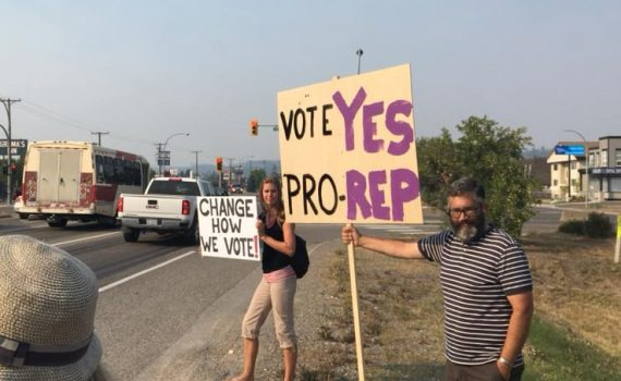 Members of Fair Vote Prince George remind motorists about the proportional representation referendum.