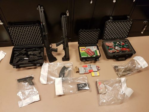 Stolen weapons found after police search travel trailer