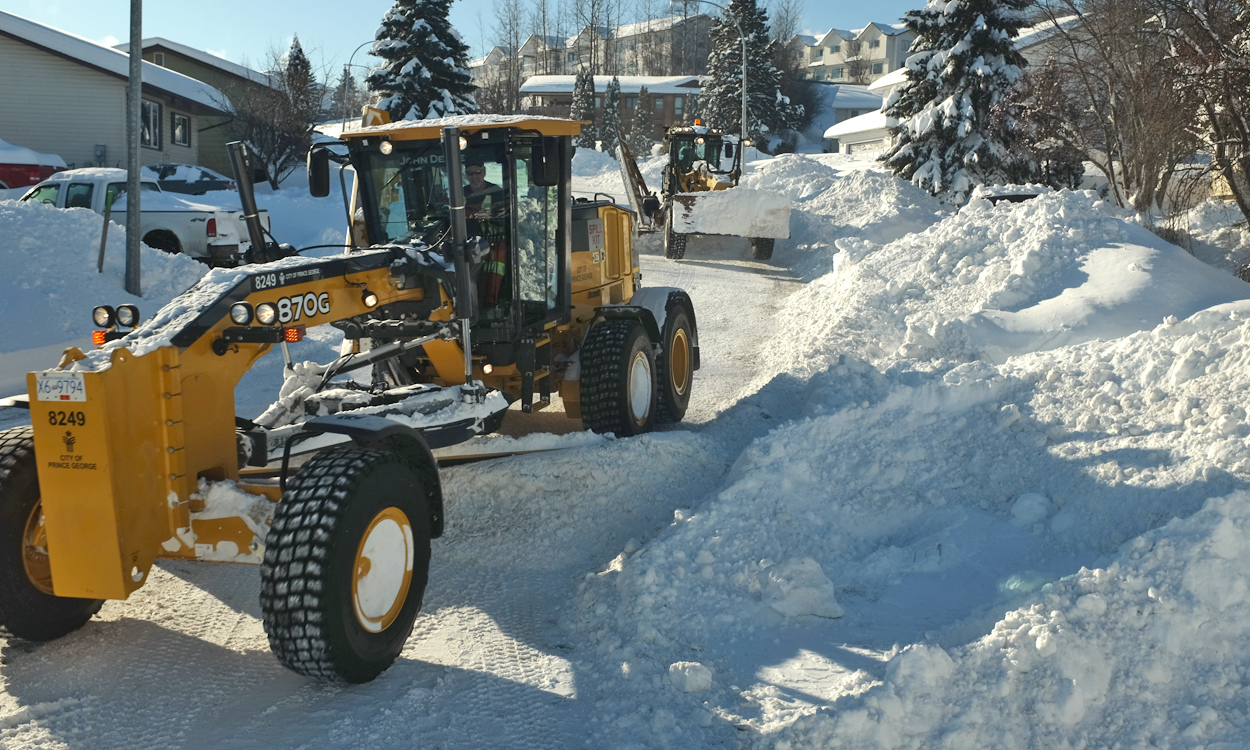 Each winter, City crews maintain 670km of road and 189km of sidewalks. In additional to plowing and sanding roads following a snowfall, general winter operations may include pothole repair, slashing and chipping overgrown lanes and roadways of trees and shrubs to improve visibility and drainage, and replacing damaged culverts as necessary to alleviate flooding concerns during spring thaw. City of Prince George photo taken February, 2018.