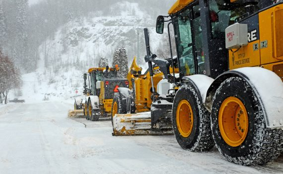 City snow and ice control crews will remain in full operation 24 hours per day through the weekend clearing priority routes throughout the city, including the downtown area. City of Prince George photo