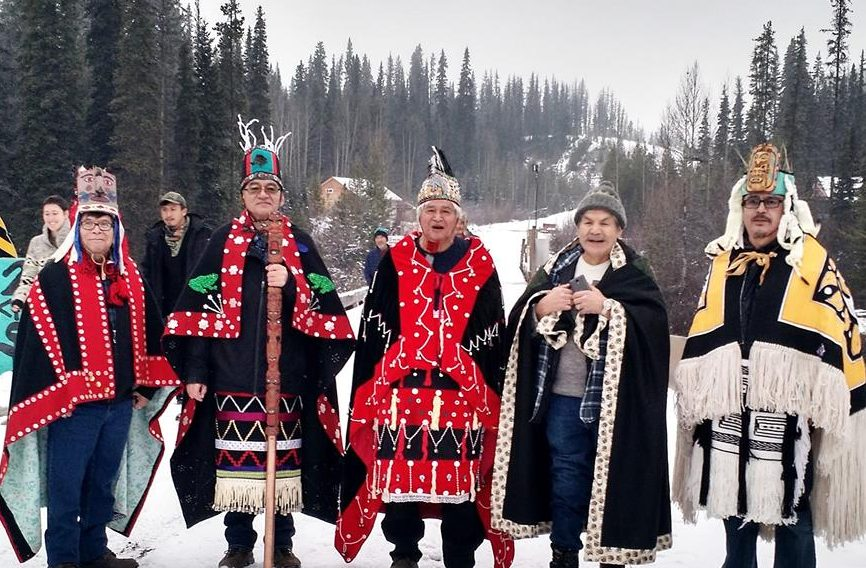 The Dini Ze' (Highest Hereditary Chiefs) of the Wet'suwet'en Nation came offer their support to the Unist'ot'en People.  Facebook photo