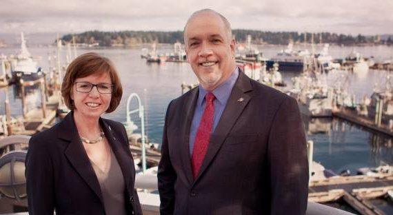 NDP candidate in Nanaimo Sheila Malcolmson and Premier John Horgan. Facebook photo