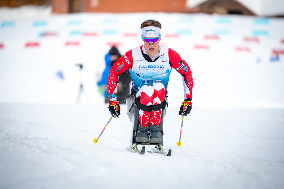 Canadian Derek Zaplotinsky competes Saturday in the BT Srpint at World Para Nordic Skiing Championships. Kelly Bergman/Berg Media