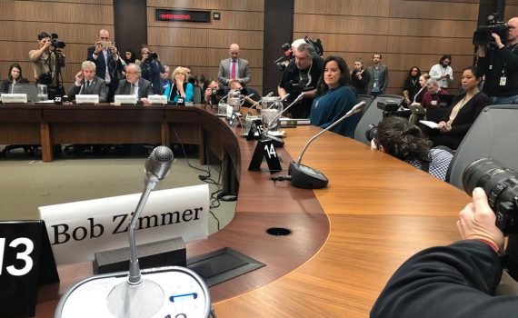 Jody Wilson-Raybould testifying at the justice committee hearing Wednesday. Bob Zimmer/Facebook photo
