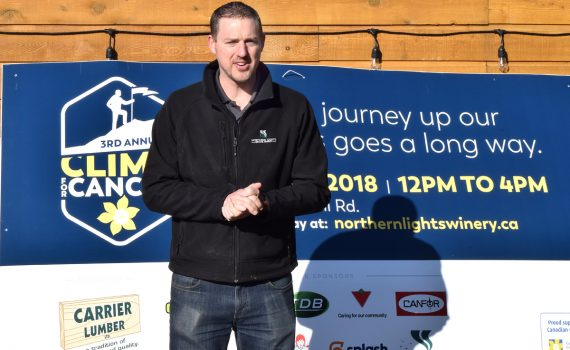 Doug Bell of the Northern Lights Estate Winery is ready for the Climb for Cancer, which is just one month away. Bill Phillips photo