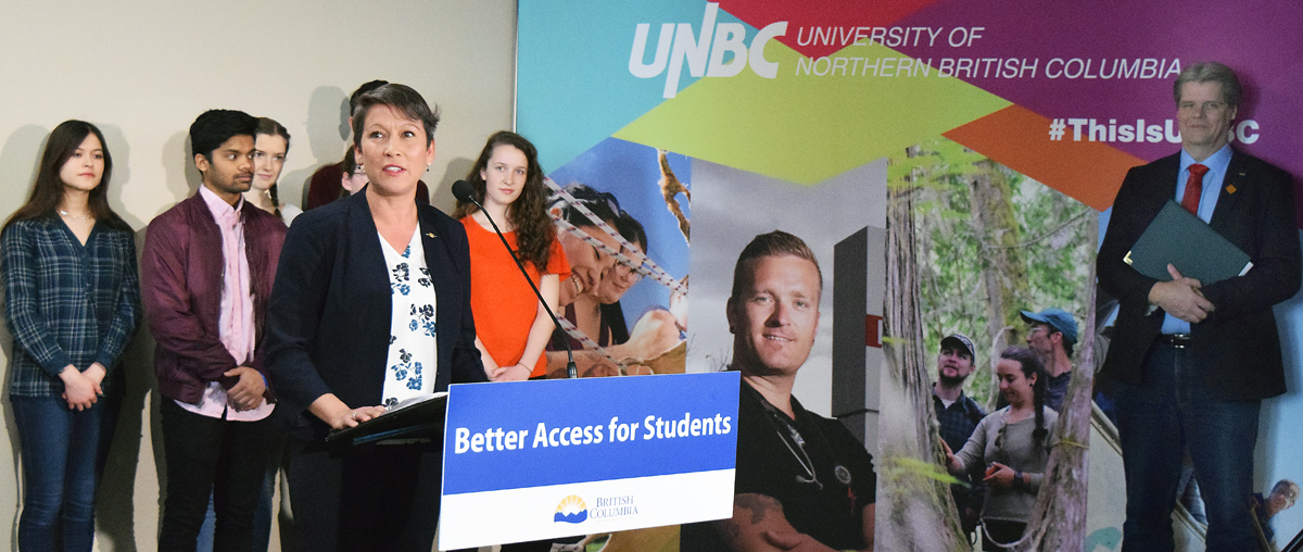 Advanced Education Minister Melanie Mark announces $3.5 million in capital funding for UNBC's engineering program. Bill Phillips photo