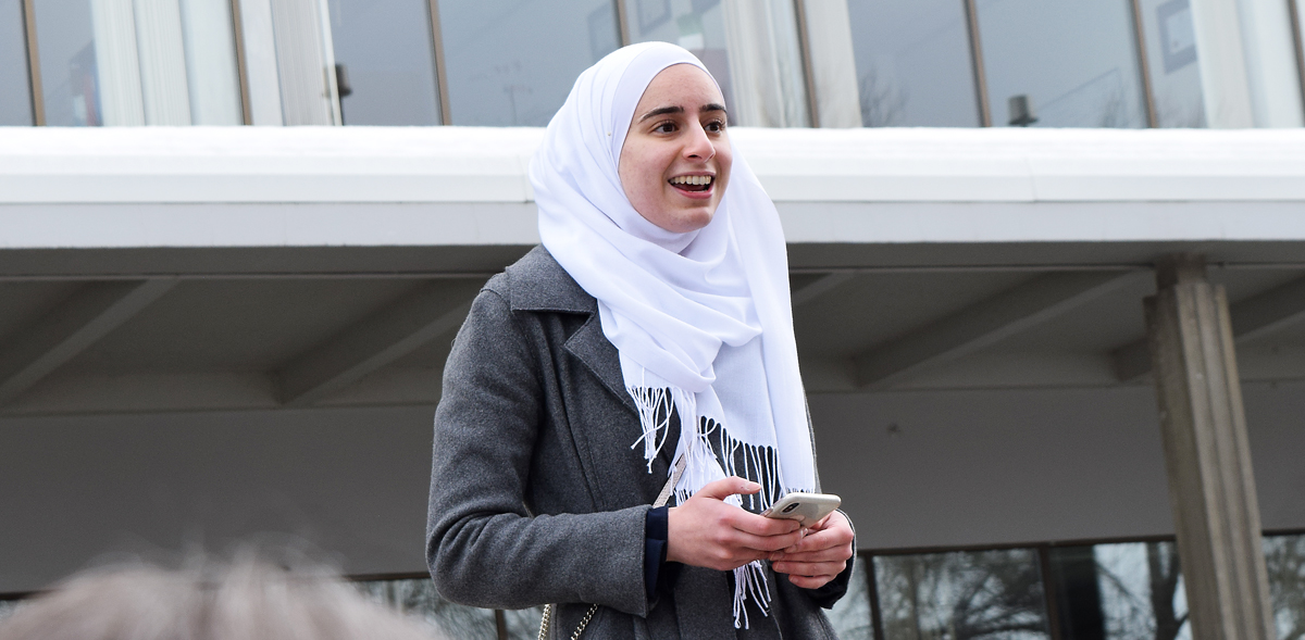 Lila Monsour speaks at a vigil at City Hall for Muslims killed in Christchurch, New Zealand. Bill Phillips photo