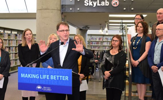 Health Minister Adrian Dix announces a new urgent care facility for Prince George. Bill Phillips photo