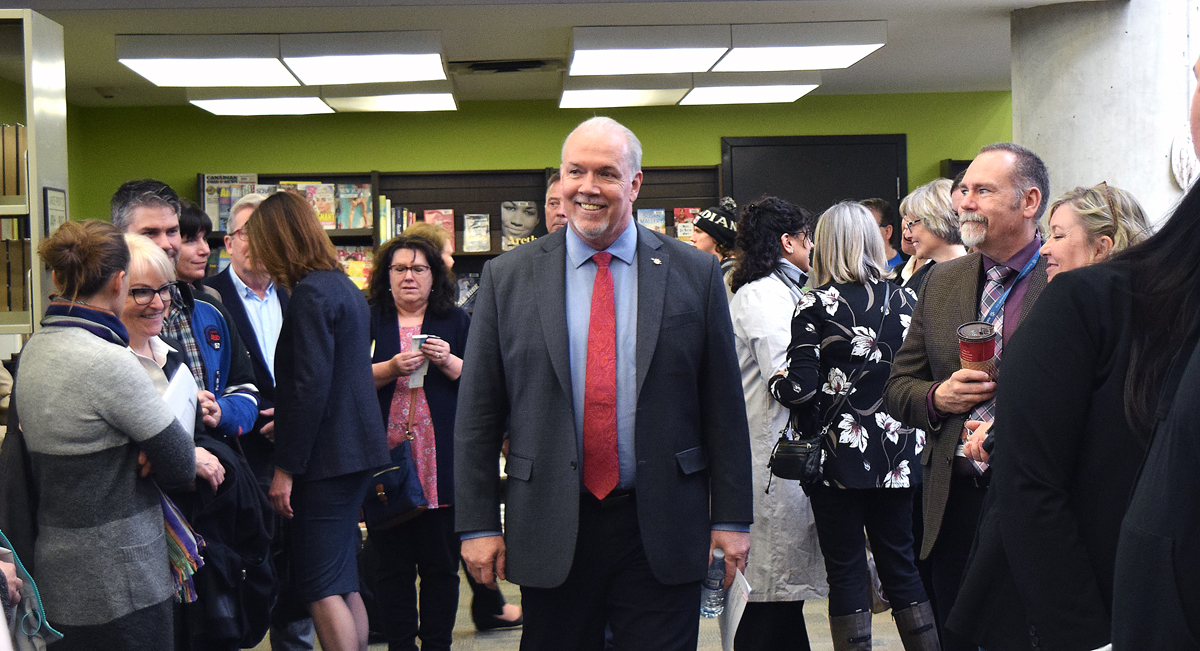 Premier John Horgan during his stop in Prince George Thursday. Bill Phillips photo