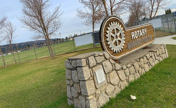 Rotary Soccer Fields are opening on May 3 along with most of the city's other sport fields and ball diamonds. Parks staff recently trimmed the grass on the field in preparation for play. City of Prince George photo