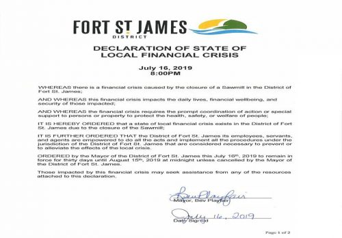 Fort St. James declares financial crisis due to mill closure